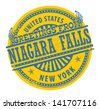 Grunge rubber stamp with text Greetings from Niagara Falls, New York, vector illustration - stock vector