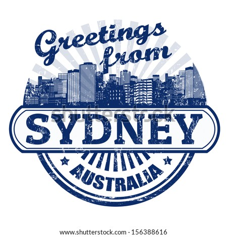 Grunge rubber stamp with text Greetings from Sydney, vector illustration - stock vector