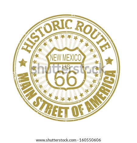 Grunge rubber stamp with text Historic Route 66, New Mexico, vector illustration - stock vector