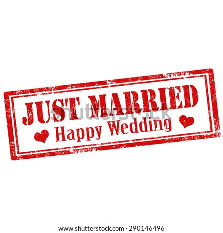 Grunge rubber stamp with text Just Married-Happy Wedding,vector illustration - stock vector