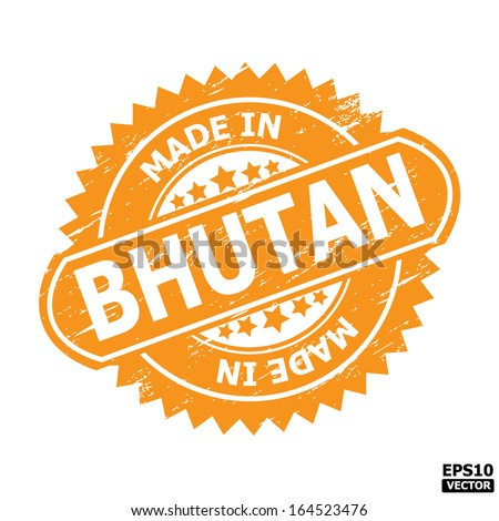 "Grunge rubber stamp  with text "" MADE IN BHUTAN "" present by yellow color for business or e-commerce. eps10 vector"