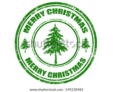 Grunge rubber stamp with text Merry Christmas,vector illustration