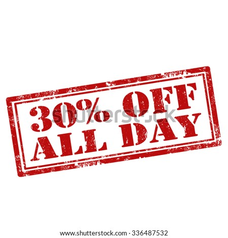 Grunge rubber stamp with text 30% Off All Day,vector illustration - stock vector