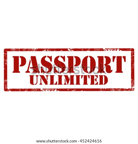 Grunge rubber stamp with text Passport Unlimited,vector illustration - stock vector