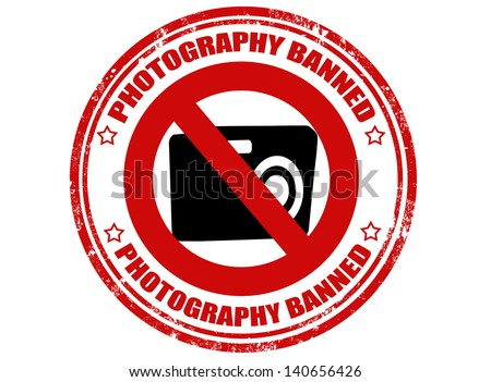 Grunge rubber stamp with text photography banned inside,vector illustration - stock vector