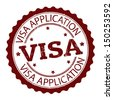 Grunge rubber stamp with text Visa application,vector illustration - stock vector