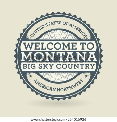 Grunge rubber stamp with text Welcome to Montana, USA, vector illustration - stock vector