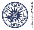 Grunge rubber stamp with the guitar and the words Rock Star written inside the stamp, vector illustration - stock vector