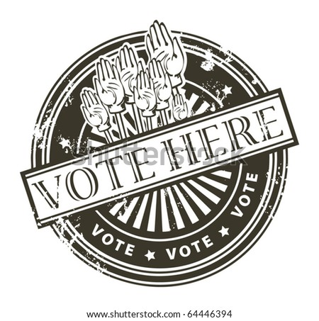 Grunge rubber stamp with the hands and the word vote here written inside the stamp, vector illustration - stock vector