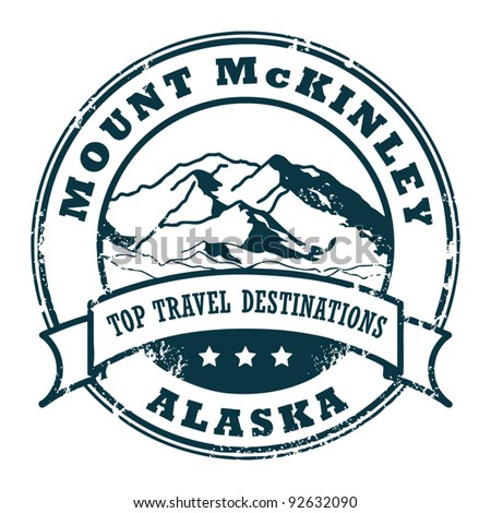 Grunge rubber stamp with the Mount McKinley, Alaska, vector illustration