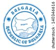 Grunge rubber stamp with the name and map of Bulgaria, vector illustration - stock vector