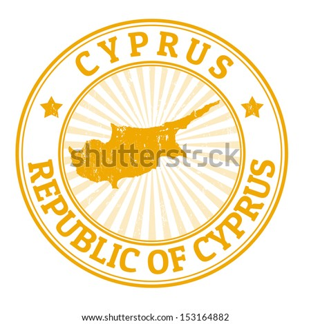 Grunge rubber stamp with the name and map of Cyprus, vector illustration - stock vector