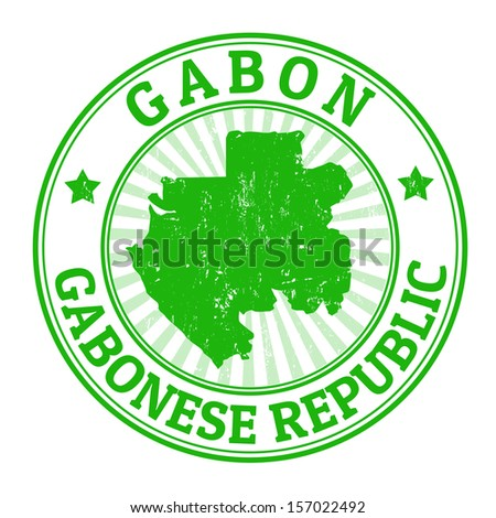 Grunge rubber stamp with the name and map of Gabon, vector illustration - stock vector