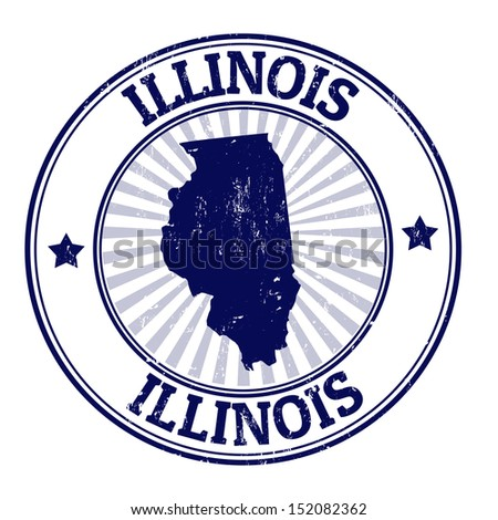 Grunge rubber stamp with the name and map of Illinois, vector illustration