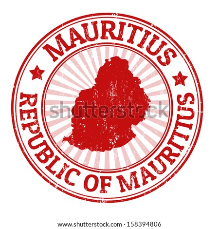 Grunge rubber stamp with the name and map of Mauritius, vector illustration - stock vector
