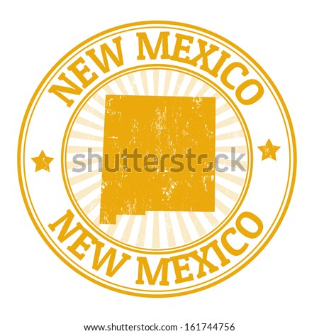 Grunge rubber stamp with the name and map of New Mexico, vector illustration - stock vector