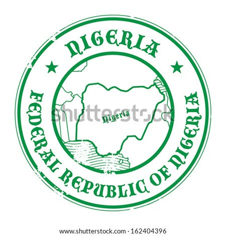 Grunge rubber stamp with the name and map of Nigeria, vector illustration - stock vector