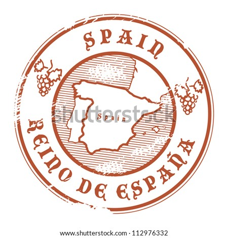 Grunge rubber stamp with the name and map of Spain, vector illustration - stock vector