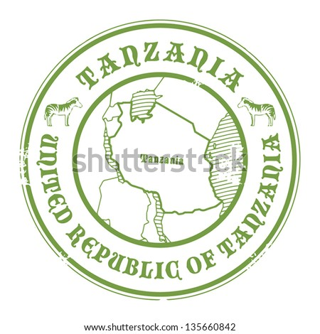 Grunge rubber stamp with the name and map of Tanzania, vector illustration - stock vector