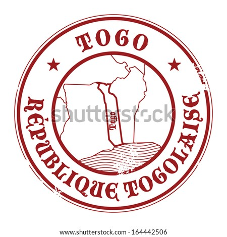 Grunge rubber stamp with the name and map of Togo, vector illustration