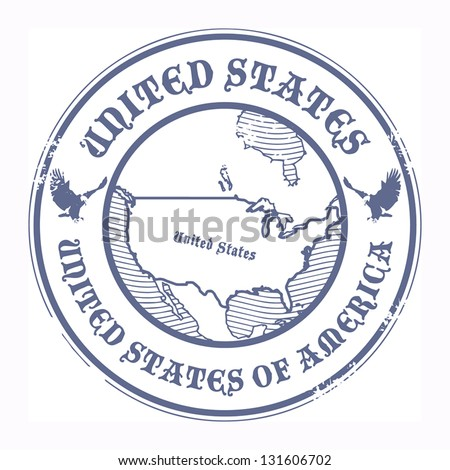 Grunge rubber stamp with the name and map of United States, vector illustration
