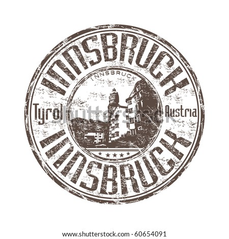 Grunge rubber stamp with the name of Innsbruck the capital city of Tyrol in western Austria