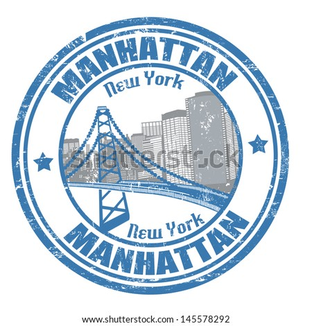 Grunge rubber stamp with the name of Manhattan borough from New York City written - stock vector