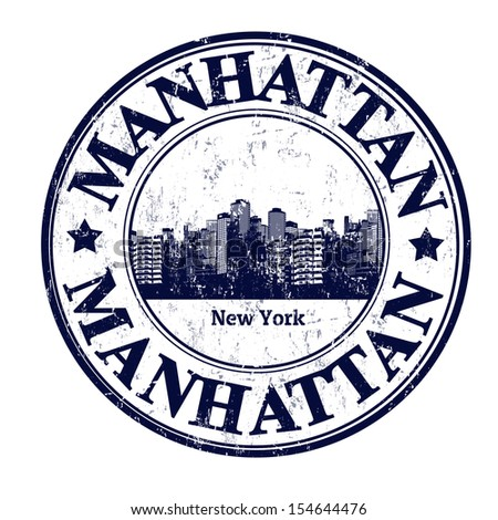 Grunge rubber stamp with the name of Manhattan borough from New York City written inside the stamp - stock vector