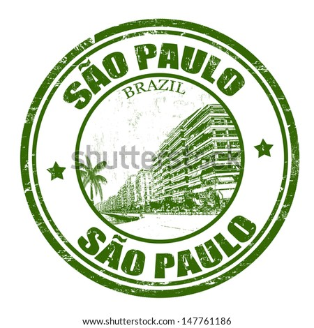 Grunge rubber stamp with the name of Sao Paulo the largest city in Brazil, vector illustration - stock vector