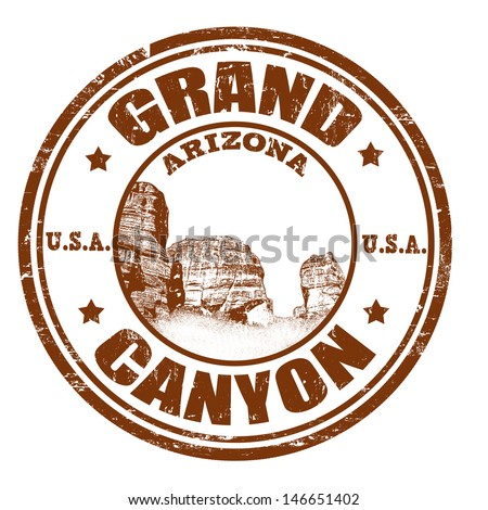Grunge rubber stamp with the name of the Grand Canyon from United States of America written inside the stamp - stock vector