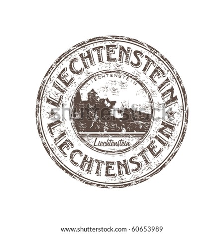 Grunge rubber stamp with the name of the Principality of Liechtenstein written inside the stamp