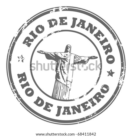Grunge rubber stamp with the statue of the Christ the Redeemer and text Rio de Janeiro, vector illustration - stock vector
