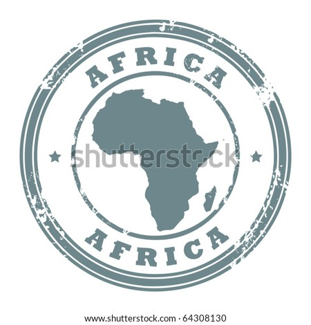 Grunge rubber stamp with the text Africa written inside the stamp, vector illustration - stock vector