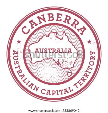 Grunge rubber stamp with the text Australia, Canberra written inside the stamp, vector illustration - stock vector