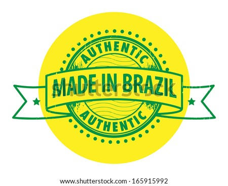 Grunge rubber stamp with the text Authentic, Made in Brazil written inside the stamp, vector illustration - stock vector