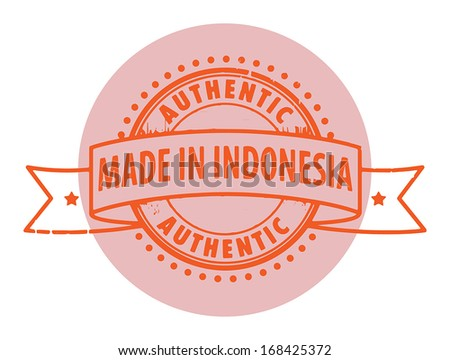 Grunge rubber stamp with the text Authentic, Made in Indonesia written inside the stamp, vector illustration - stock vector