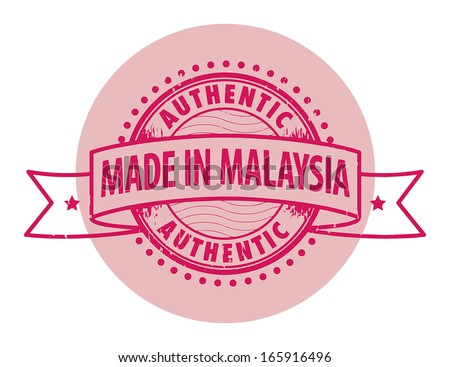 Grunge rubber stamp with the text Authentic, Made in Malaysia written inside the stamp, vector illustration - stock vector