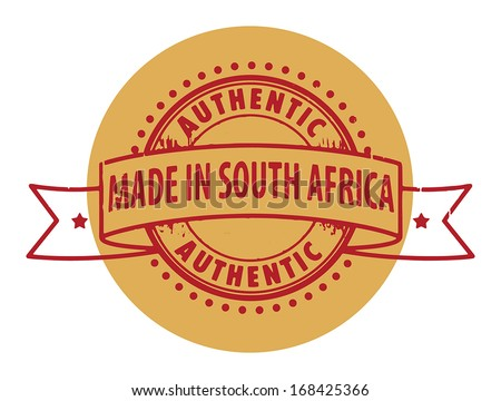 Grunge rubber stamp with the text Authentic, Made in South Africa written inside the stamp, vector illustration - stock vector