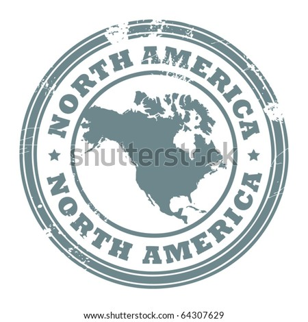 Grunge rubber stamp with the text North America written inside the stamp, vector illustration - stock vector