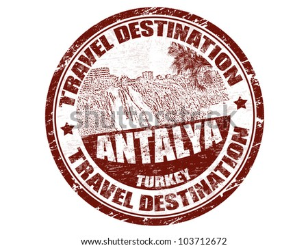 Grunge rubber stamp with the text travel destinations Antalya inside, vector illustration