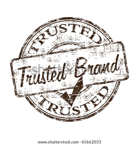 Grunge rubber stamp with the text trusted brand written inside the stamp - stock vector