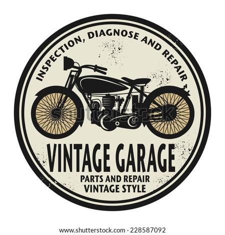 Grunge rubber stamp with the words Vintage Garage inside, vector illustration - stock vector
