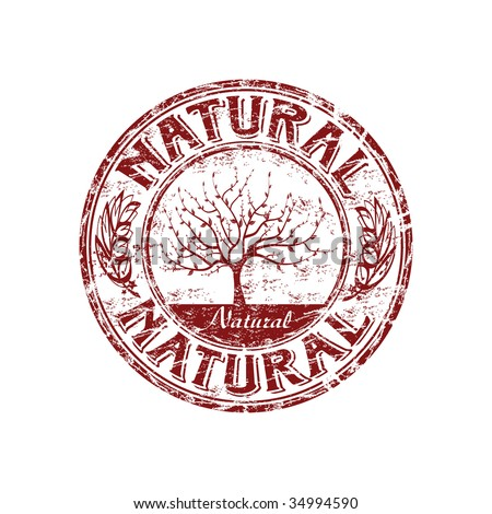 Grunge rubber stamp with tree shape and the word natural written inside the stamp
