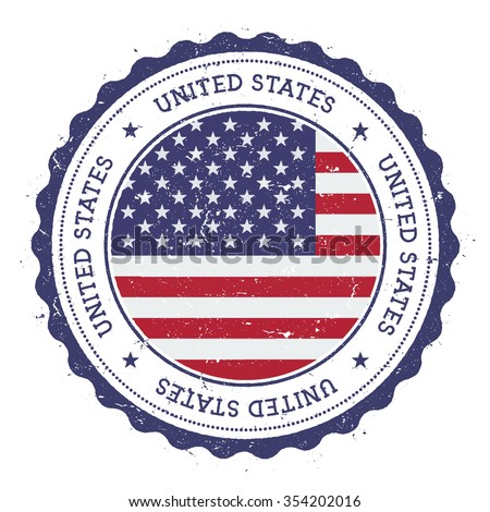 Grunge rubber stamp with United States flag. Vintage travel stamp with circular text, stars and country flag inside it, vector illustration - stock vector