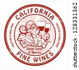 Grunge rubber stamp with words California, Fine Wines, vector illustration - stock vector