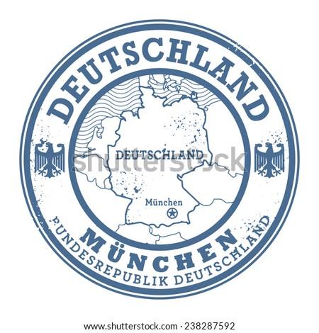 Grunge rubber stamp with words Deutschland, Munchen inside, vector illustration - stock vector