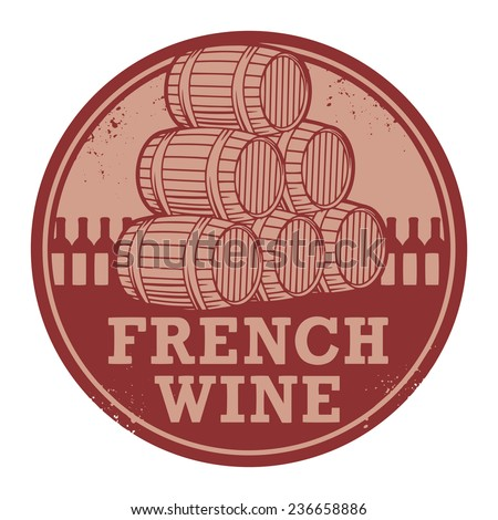 Grunge rubber stamp with words French Wine, vector illustration