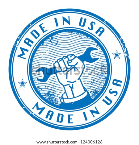 Grunge rubber stamp with words Made in USA inside, vector illustration - stock vector