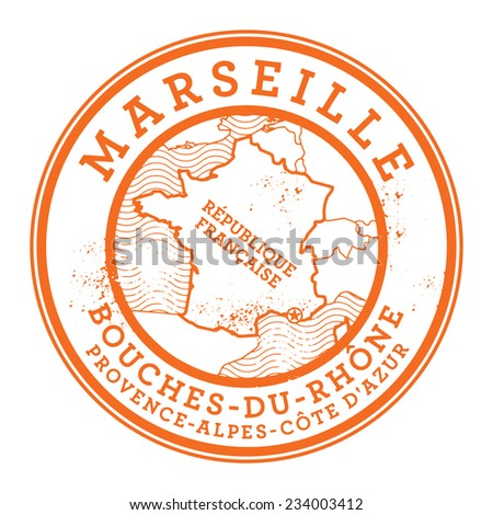 Grunge rubber stamp with words Marseille, France inside, vector illustration - stock vector