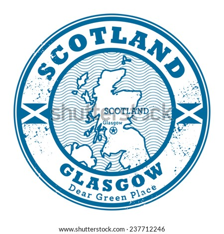 Grunge rubber stamp with words Scotland, Glasgow inside, vector illustration - stock vector